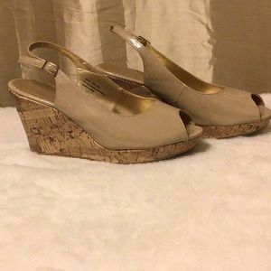 Wedge Heel Patent Nude Shoes